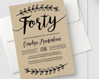 Printable 40th Birthday Invitation