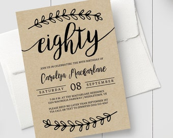 Printable 80th Birthday Invitation