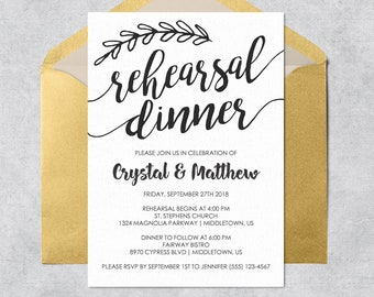 Printable Rehearsal Dinner Invitation - Black and White with Branch - Editable Printable Wedding Rehearsal Invitation PDF Template