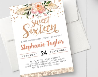 photo about Printable Sweet 16 Invitations called Cute 16 invitation printable Etsy
