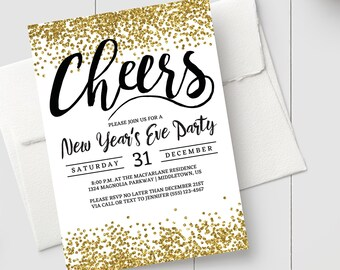 printable new years invitation gold glitter cheers instant download editable printable new years eve party invitation pdf template