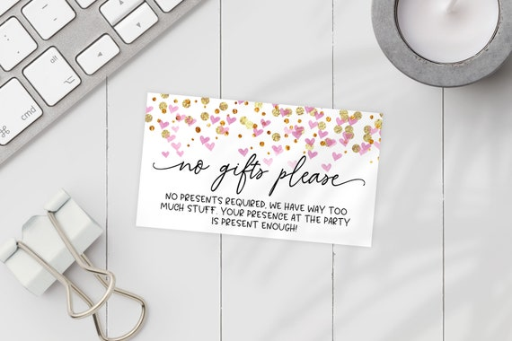 Printable No Gifts Invitation Insert Pink Hearts Editable Printable Bridal Shower Baby Shower Birthday No Gifts Please Pdf Template