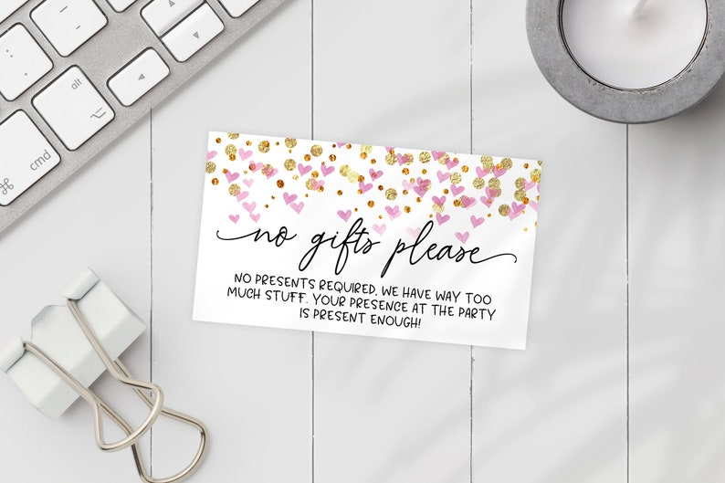 Printable No Gifts Invitation Insert Pink Hearts Editable
