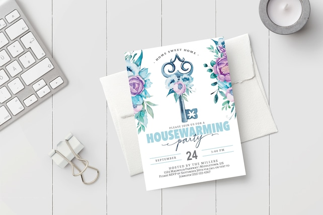 photo regarding Printable Housewarming Invitations titled Printable Housewarming Bash Invitation - Boho Watercolor