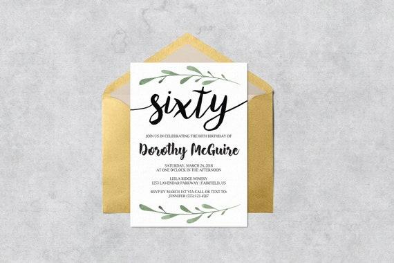 Printable 60th Birthday Invitation Green Branch Instant Download Customizable Printable Sixty Birthday Invitation Template