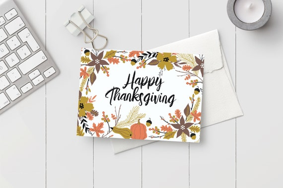 picture regarding Printable Thanksgiving Cards titled Printable Thanksgiving Card - Instantaneous Obtain PDF Autumn Leaves Joyful Thanksgiving Card - Slice and Fold Printable Card Template PDF