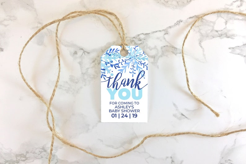 photo relating to Baby Shower Gift Tags Printable named Printable Youngster Shower Want Tags - Blue Snowflake - Editable Boy Little one Shower or Sprinkle Tags PDF - Editable Print Reduce Reward Tag Template