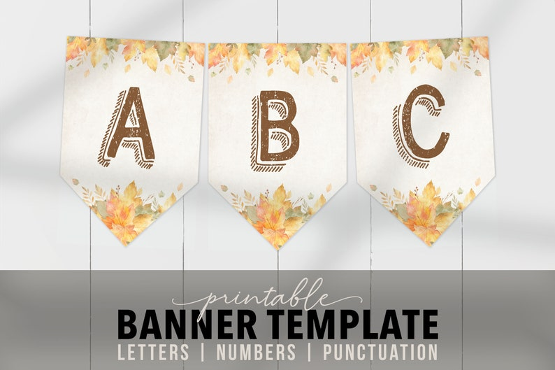 image about Printable Thanksgiving Banner referred to as Printable Thanksgiving Banner Template - Editable Autumn Banner Flags - Customizable Banner PDF Friendsgiving Occasion or Autumn Birthday