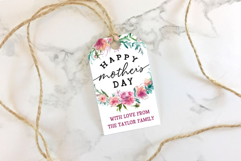 photograph regarding Mother's Day Tags Printable referred to as Printable Moms Working day Tags - Purple Environmentally friendly Floral - Editable Moms Working day Reward Prefer Tags PDF - Customizable Print Slash Present Tag pdf Template