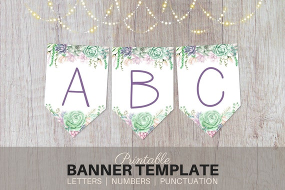 printable banner template watercolor succulents editable etsy