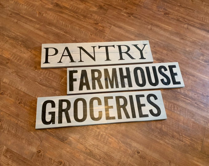 Farmhouse Pantry Groceries Rustic Fixer Upper Style Grey Wood Signs