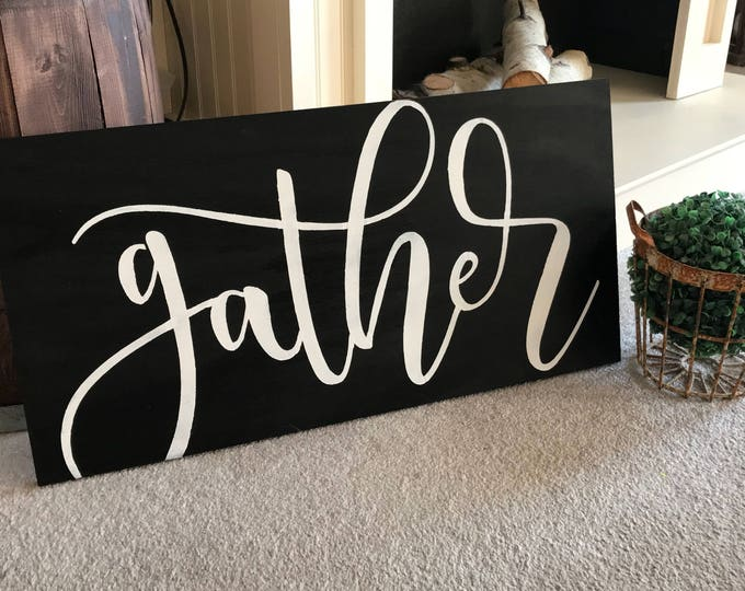 Gather Rustic Farmhouse Decor Fixer Upper Style 12x24 Black Wood Sign