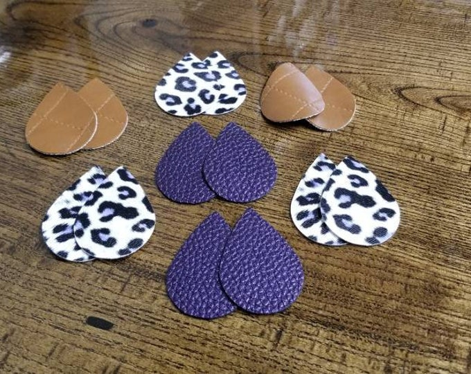 Leather Earring Cutouts Purple Lepoard Cheetah Brown Leather Teardrops Leather Alternative, Faux Leather, Teardrops 14 Pieces Earring Making