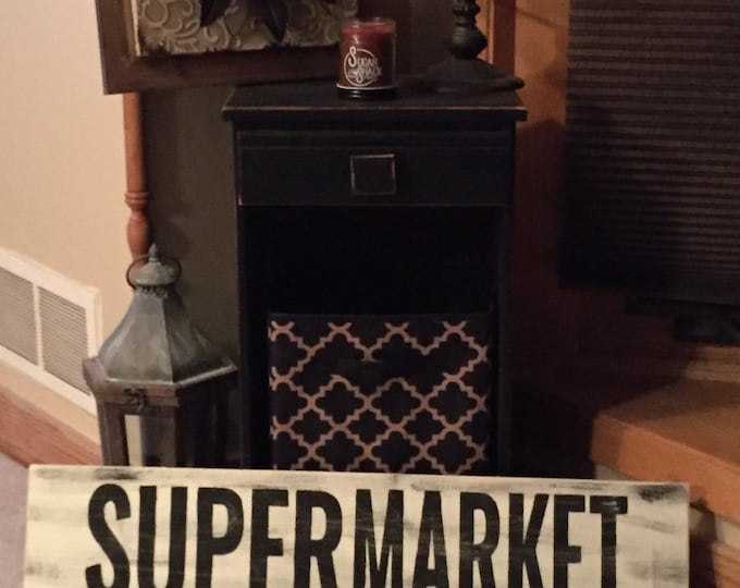 SuperMarket Farmhouse Farmers Market Super Market Fixer Upper White Rustic Distressed Wood Sign