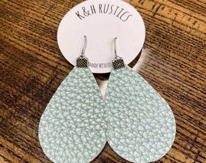 Seafoam Green Metallic Faux Leather Earrings
