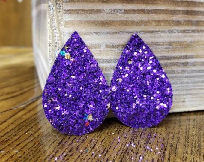 Purple Glitter Sparkle Leather Alternative, Faux Leather, Teardrops