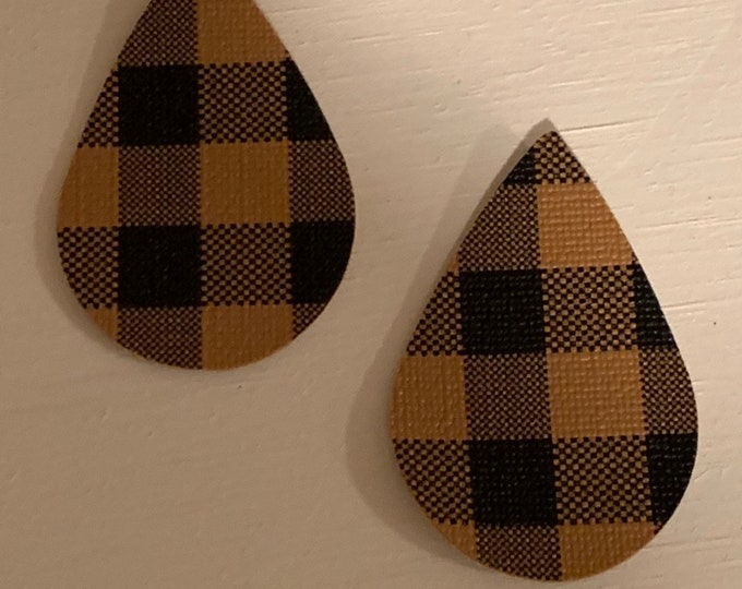 Dark Brown Buffalo Check Leather Alternative, Faux Leather, Teardrops For Earring Making