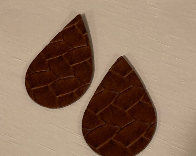 Brown Basket Weave Leather Alternative, Faux Leather, Teardrops For Earring Making