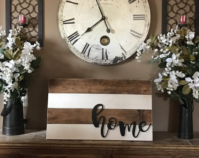 Shiplap Home Sign 14x24 Stained White Rustic Cottage Farmhouse Style Vintage Wood Decor Distressed Hanging Painted Wooden Board Wall