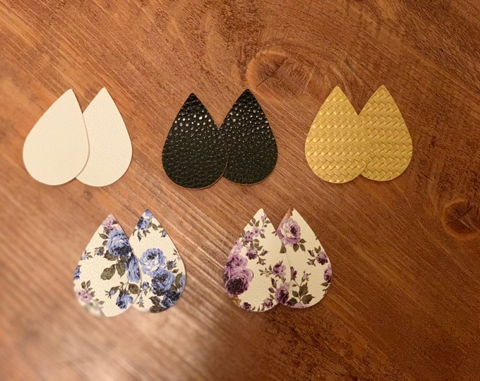 Blue Floral Teardrops, Purple Floral, Gold, Black and Whote Leather Alternative, Faux Leather, Teardrops 10 Pieces Leather Earring Cutouts