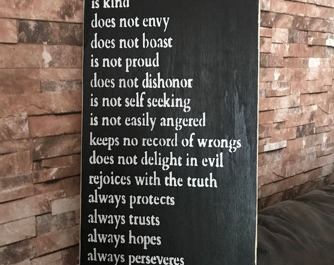 Love Is Patient Love Is Kind Corinthians 12x24 Distresed Wood Sign