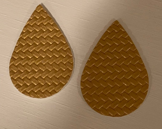 Gold Basket Weave Leather Alternative, Faux Leather, Teardrops For Earring Making