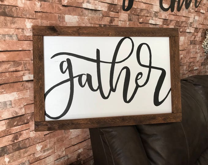 Large Framed White Gather Farmhouse Decor Fixer Upper Rustic Wood Sign