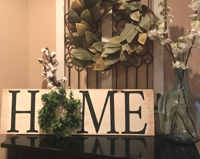 HOME Boxwood Wreath Home Family Rustic Fixer Upper Style Wood Sign