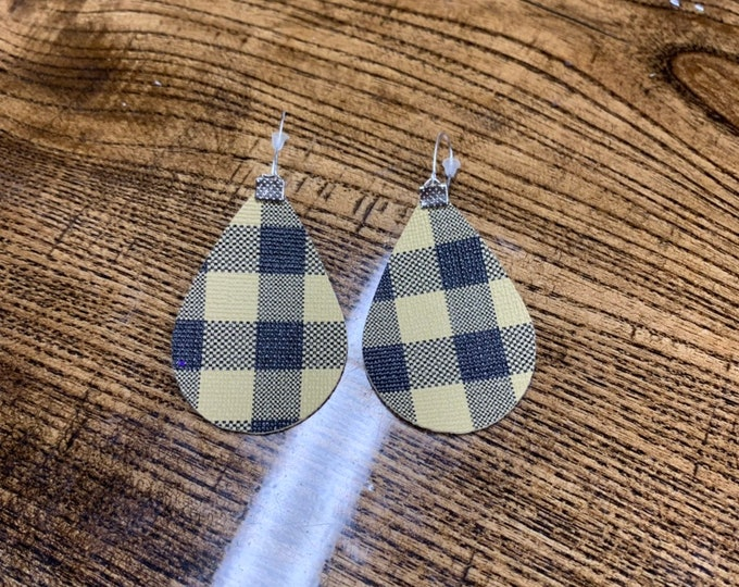 Brown Buffalo Check Faux Leather Earrings