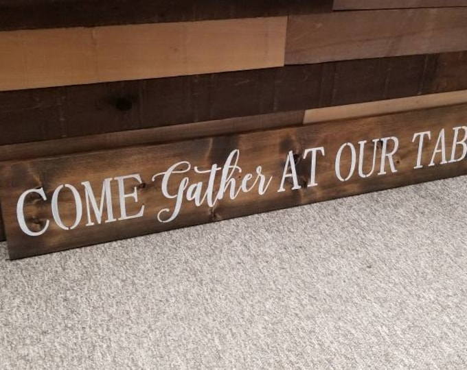 Come Gather At Our Table Rustic Fixer Upper Style Farmhouse Wood Style Kitchen Dinning Room Wall Art Home Decor