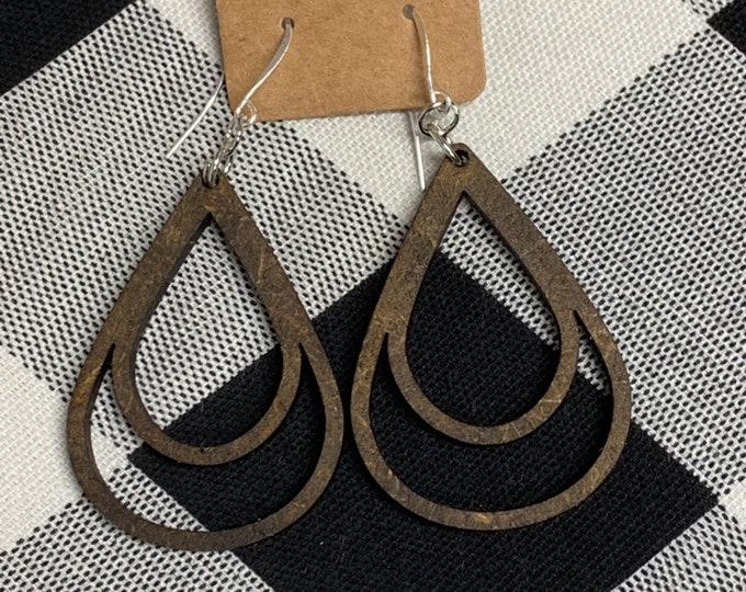 Laser Cut Wood Earrings Geometric Earrings Wooden Boho