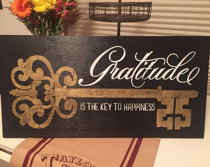 Gratitude Key Black and Gold 12x24 Wood Sign