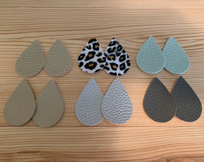 Metallic Leather Alternative, Faux Leather, Teardrops 12 Pieces Leather Earring Cutouts