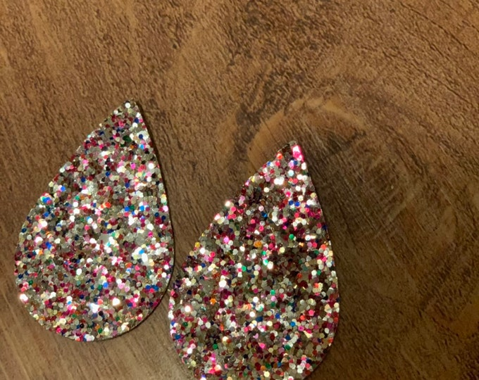 Silver and Pink Glitter Sparkle Leather Alternative, Faux Leather, Teardrops For Earring Making