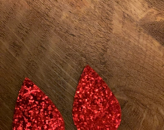 Red Glitter Sparkle Leather Alternative, Faux Leather, Teardrops For Earring Making