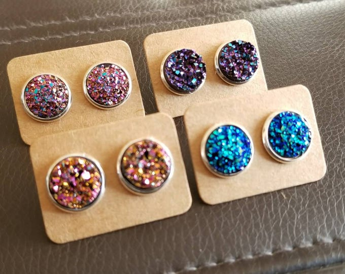 12mm Druzy Silver Stud Earring Set Pink Purple Blue Gift Bridesmaid Birthday
