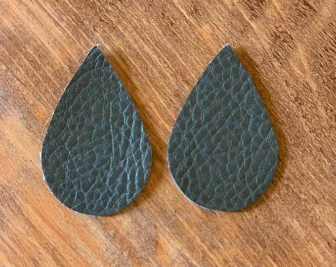 Dark Charcoal Grey Leather Alternative, Faux Leather, Teardrops For Earring Making