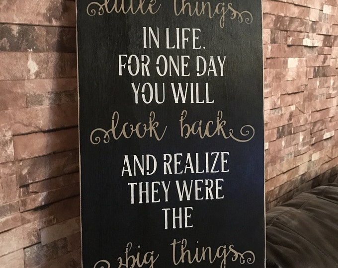 Enjoy The Little Things Inspirational Quote Black Distressed Subway Wood Sign