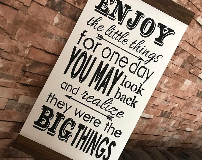 Enjoy The Little Things Rustic Farmhouse Shiplap Style 12x24 Wood Sign