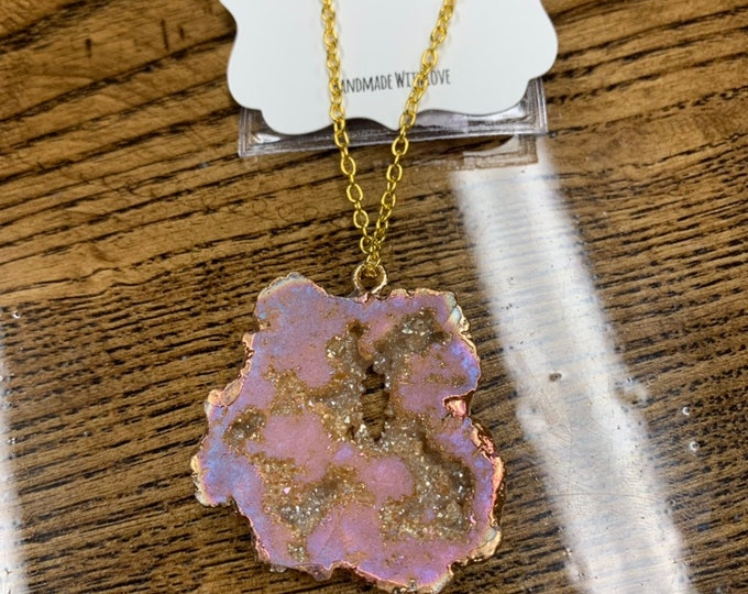 Peach Geode Necklace Agate Pendent Agate Jewelry Crystal Boho Necklace Gift