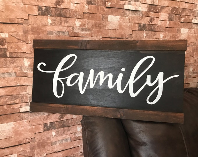 Rustic Family Framed Fixer Upper Wood Sign
