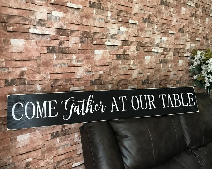 Come Gather At Our Table Rustic Fixer Upper Style Farmhouse Black Wood Style Kitchen Dinning Room Wall Art Home Decor