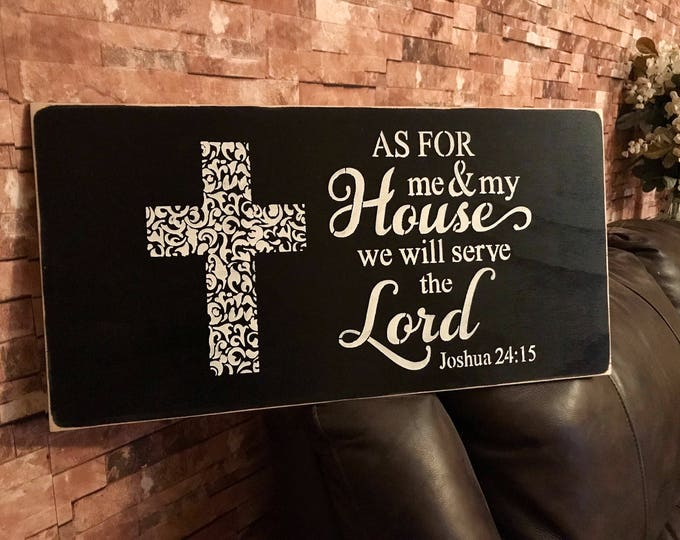 As For Me And My House We Will Serve The Lord Black Rustic Fixer Upper Style Wall Decor Art