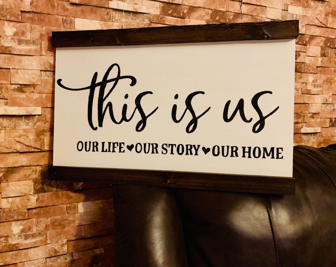 This Is Us Our Life Our Story Our Home White Framed Distressed Rustic Farmhouse Style Fixer Upper Wood Sign
