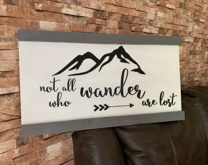 Not All Who Wander Are Lost Cut Out Words Farmhouse Decor Distressed Wood Sign Inspirational Handmade Sign Stained Walnut Fixer Upper