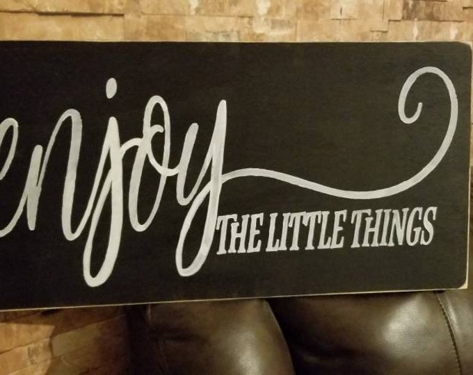 Enjoy The Little Things Black Distressed Rustic Farmhouse Style Fixer Upper Wood Sign