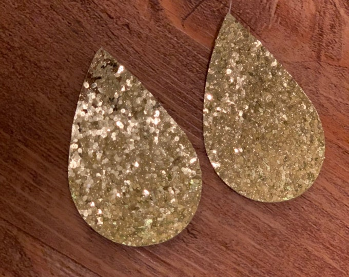Gold Glitter Sparkle Leather Alternative, Faux Leather, Teardrops For Earring Making