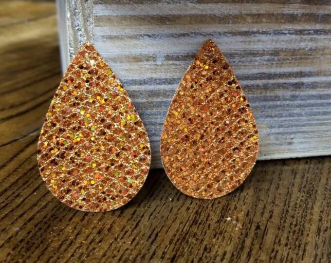 Orange Sparkle Leather Alternative, Faux Leather, Teardrops