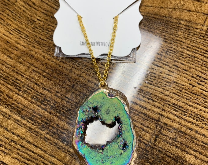 Rainbow Geode Necklace Agate Pendent Agate Jewelry Crystal Boho Necklace Gift