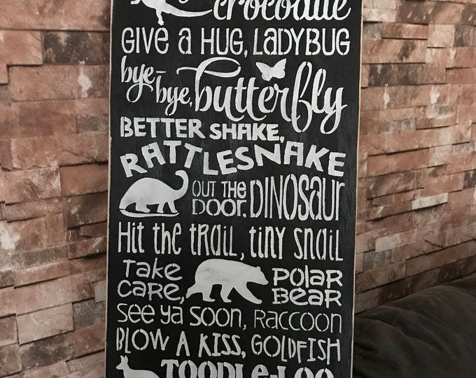 12x24 Kids Rhyme See You Later Alligator Distressed Wood Sign